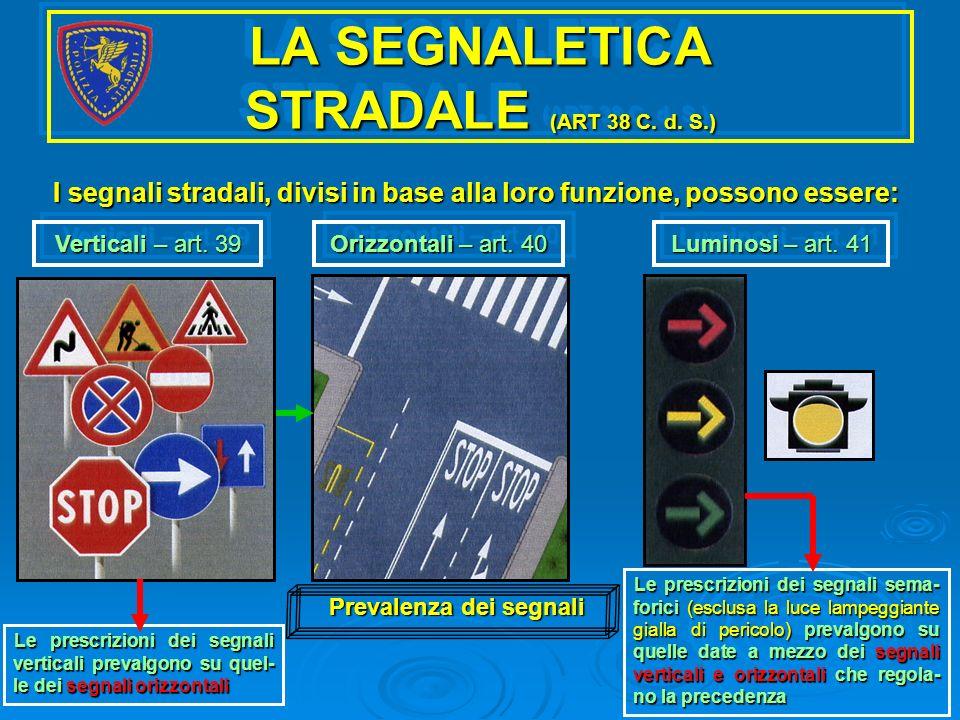LA SEGNALETICA STRADALE (ART 38 C. d. S.) I segnali stradali, divisi in base alla loro funzione, possono essere: Verticali – art. 39 Orizzontali – art