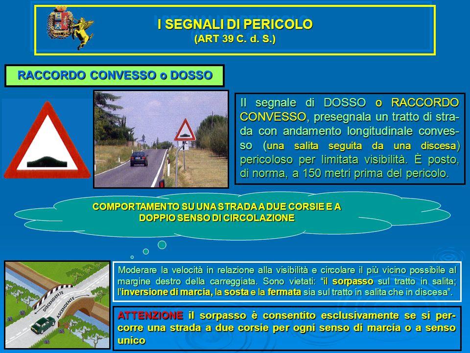 I SEGNALI DI PERICOLO (ART 39 C. d. S.) RACCORDO CONVESSO o DOSSO Il segnale di DOSSO o RACCORDO CONVESSO, presegnala un tratto di stra- da con andame
