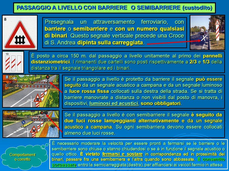 PASSAGGIO A LIVELLO CON BARRIERE O SEMIBARRIERE (custodito) Presegnala un attraversamento ferroviario, con barriere o semibarriere e con un numero qua