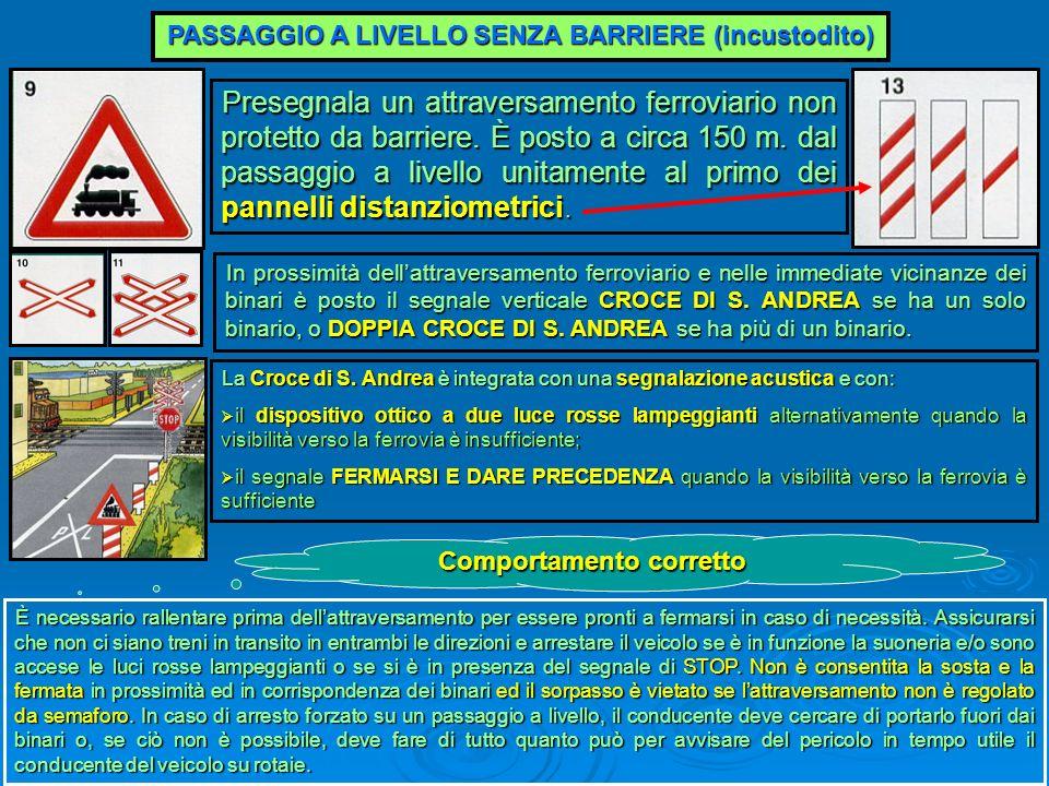 PASSAGGIO A LIVELLO SENZA BARRIERE (incustodito) Presegnala un attraversamento ferroviario non protetto da barriere. È posto a circa 150 m. dal passag