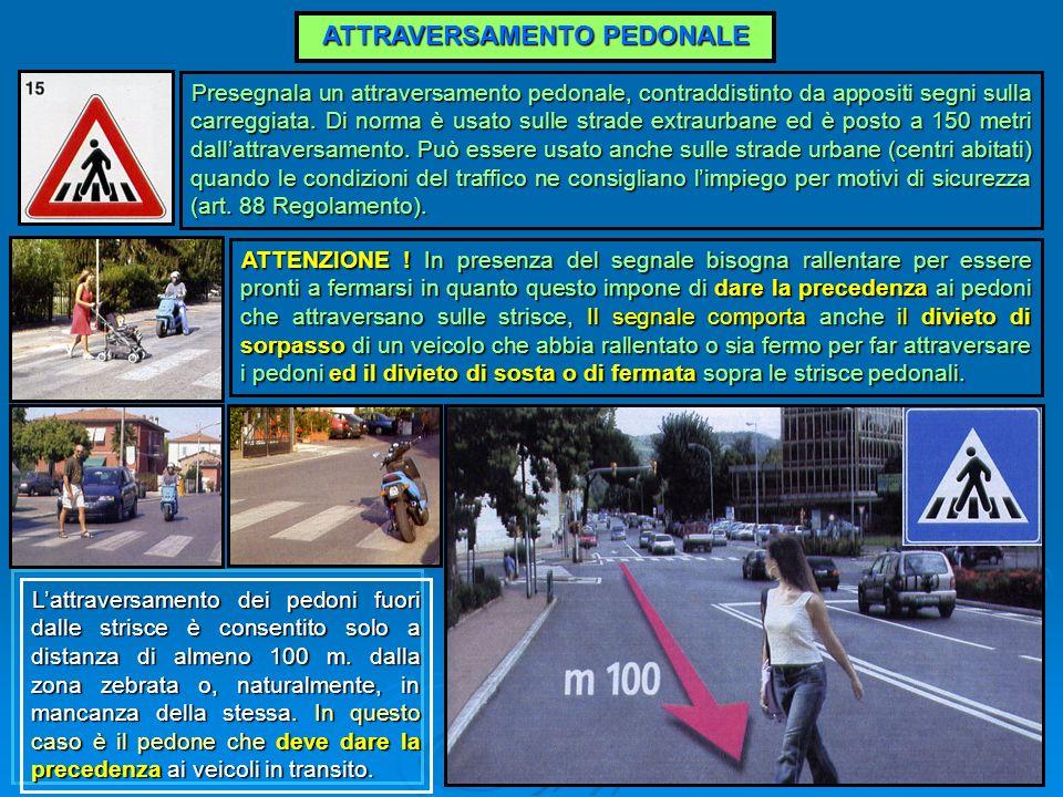 ATTRAVERSAMENTO PEDONALE Presegnala un attraversamento pedonale, contraddistinto da appositi segni sulla carreggiata. Di norma è usato sulle strade ex