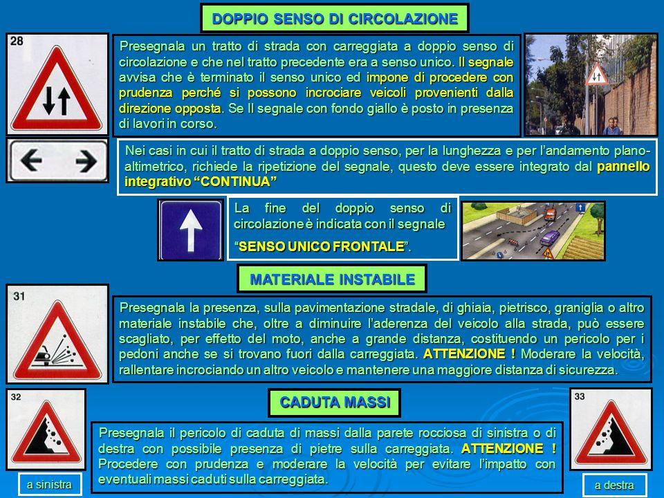 DOPPIO SENSO DI CIRCOLAZIONE Presegnala un tratto di strada con carreggiata a doppio senso di circolazione e che nel tratto precedente era a senso uni