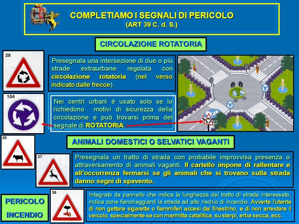 COMPLETIAMO I SEGNALI DI PERICOLO (ART 39 C. d. S.) CIRCOLAZIONE ROTATORIA Presegnala una intersezione di due o più strade extraurbane regolata con ci
