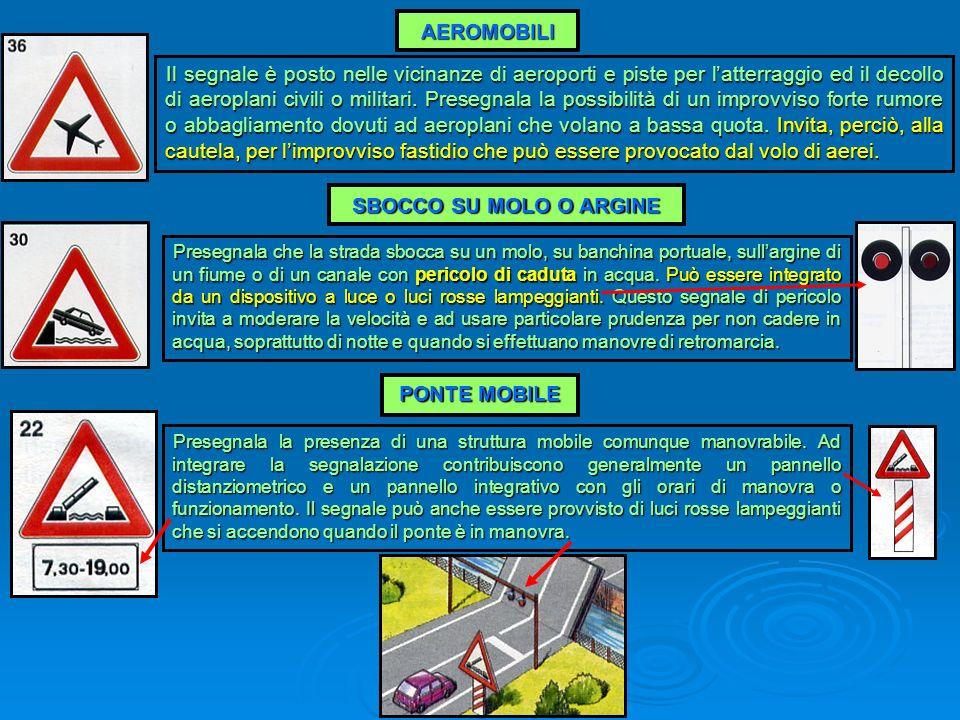 AEROMOBILI Il segnale è posto nelle vicinanze di aeroporti e piste per latterraggio ed il decollo di aeroplani civili o militari. Presegnala la possib