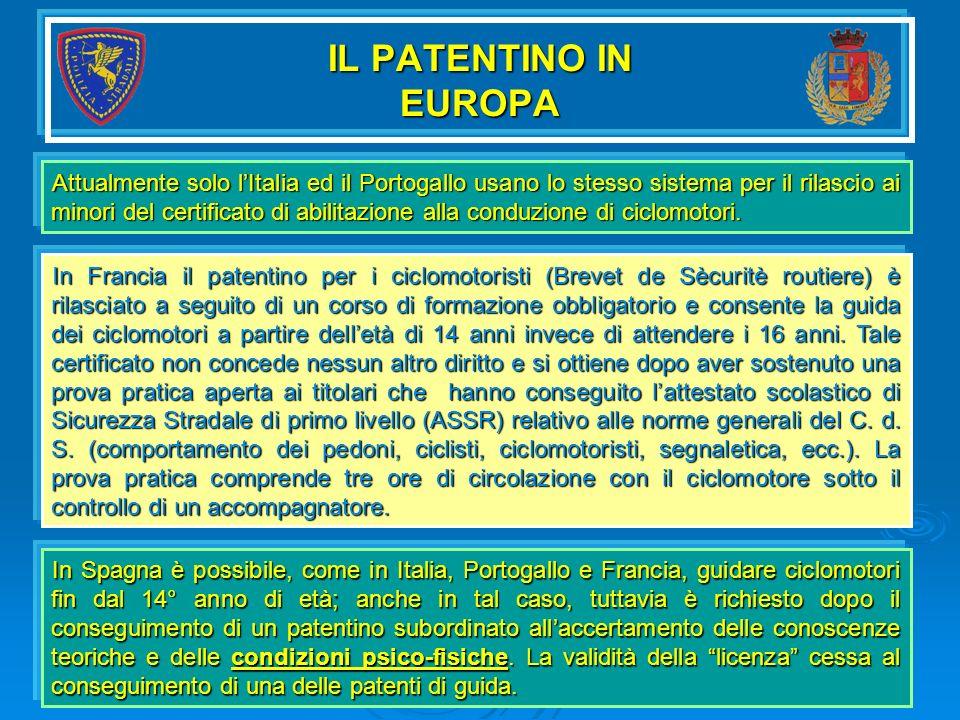 IL PATENTINO IN EUROPA Attualmente solo lItalia ed il Portogallo usano lo stesso sistema per il rilascio ai minori del certificato di abilitazione all