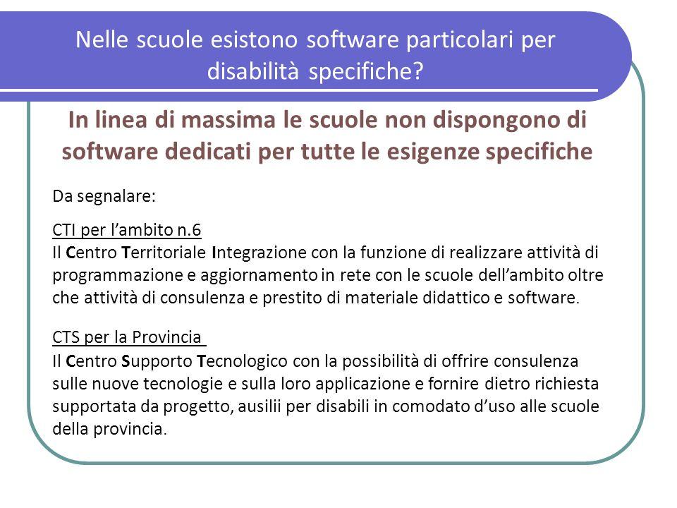 Nelle scuole esistono software particolari per disabilità specifiche? In linea di massima le scuole non dispongono di software dedicati per tutte le e
