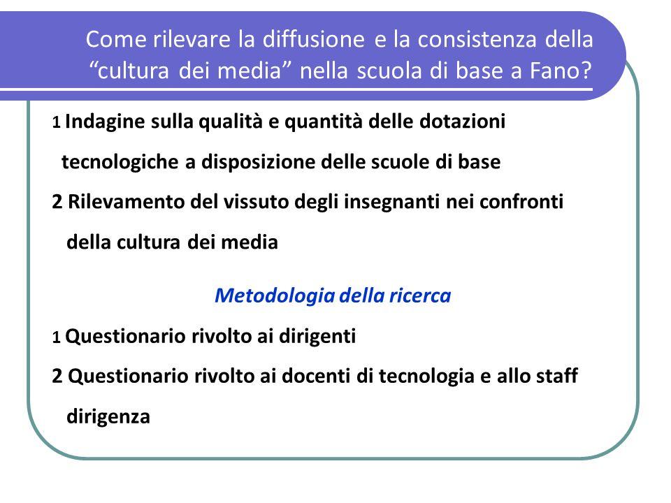 Come rilevare la diffusione e la consistenza della cultura dei media nella scuola di base a Fano? 1 Indagine sulla qualità e quantità delle dotazioni