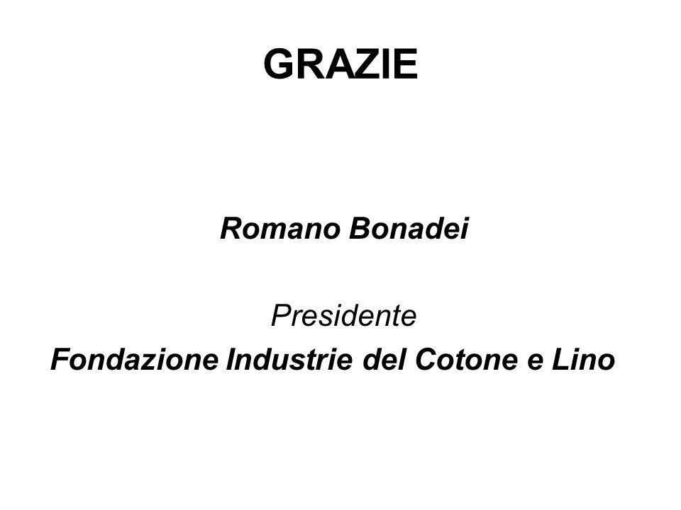 GRAZIE Romano Bonadei Presidente Fondazione Industrie del Cotone e Lino