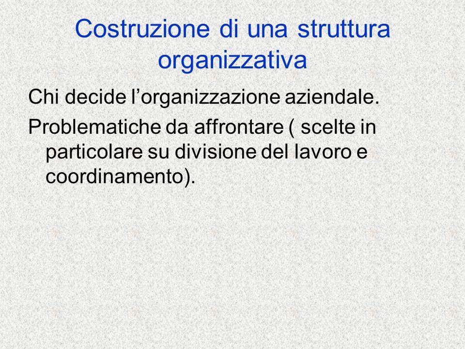 CRITERI DI DIVISIONE DEL LAVORO - Divisione del lavoro verticale o orizzontale DIVISIONE ORIZZONTALE - Criterio per funzione -Criterio per divisioni -Criterio per progetto DIVISIONE VERTICALE -Accentramento -Decentramento ( delega di autorità)