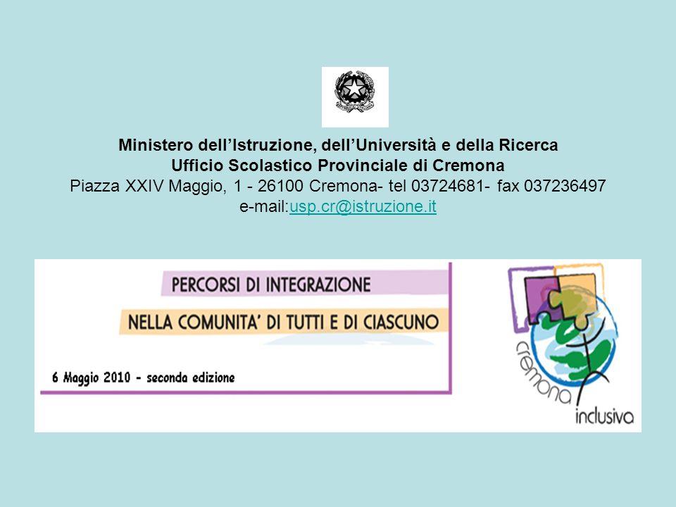 Ministero dellIstruzione, dellUniversità e della Ricerca Ufficio Scolastico Provinciale di Cremona Piazza XXIV Maggio, 1 - 26100 Cremona- tel 03724681