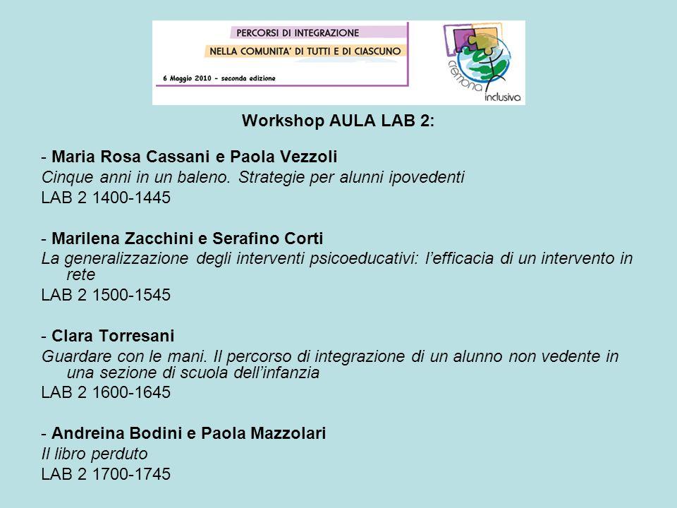 Workshop AULA LAB 2: - Maria Rosa Cassani e Paola Vezzoli Cinque anni in un baleno. Strategie per alunni ipovedenti LAB 2 1400-1445 - Marilena Zacchin