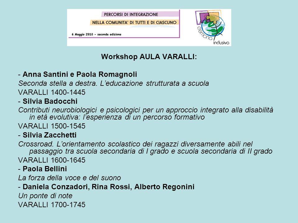 Workshop AULA VARALLI: - Anna Santini e Paola Romagnoli Seconda stella a destra. Leducazione strutturata a scuola VARALLI 1400-1445 - Silvia Badocchi