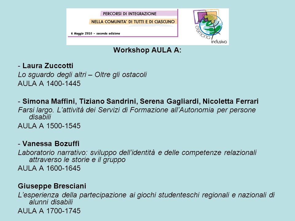 Workshop AULA A: - Laura Zuccotti Lo sguardo degli altri – Oltre gli ostacoli AULA A 1400-1445 - Simona Maffini, Tiziano Sandrini, Serena Gagliardi, N