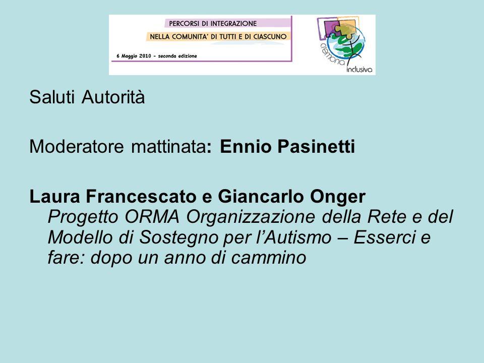 Saluti Autorità Moderatore mattinata: Ennio Pasinetti Laura Francescato e Giancarlo Onger Progetto ORMA Organizzazione della Rete e del Modello di Sos