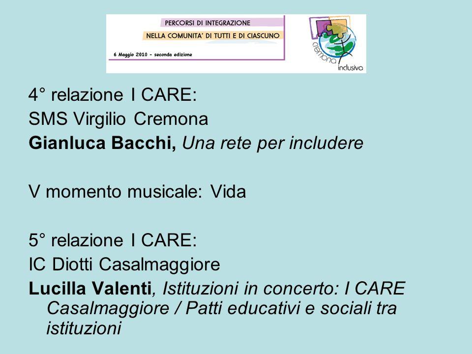4° relazione I CARE: SMS Virgilio Cremona Gianluca Bacchi, Una rete per includere V momento musicale: Vida 5° relazione I CARE: IC Diotti Casalmaggior