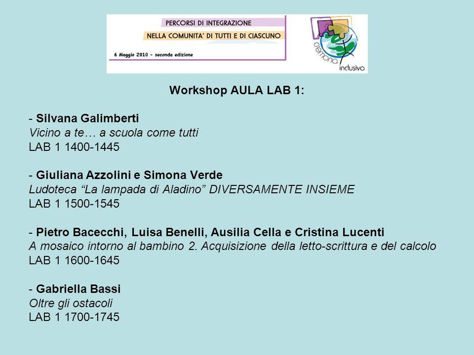 Workshop AULA LAB 1: - Silvana Galimberti Vicino a te… a scuola come tutti LAB 1 1400-1445 - Giuliana Azzolini e Simona Verde Ludoteca La lampada di A