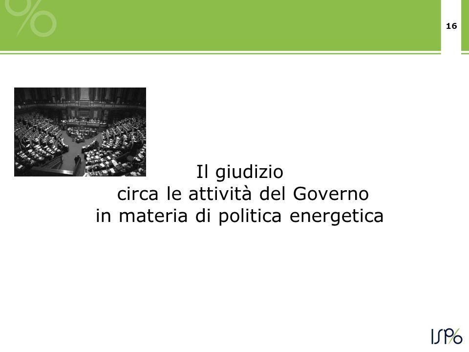 16 Il giudizio circa le attività del Governo in materia di politica energetica