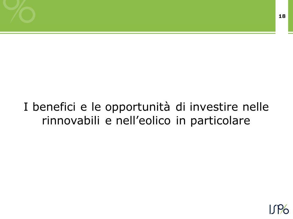 18 I benefici e le opportunità di investire nelle rinnovabili e nelleolico in particolare