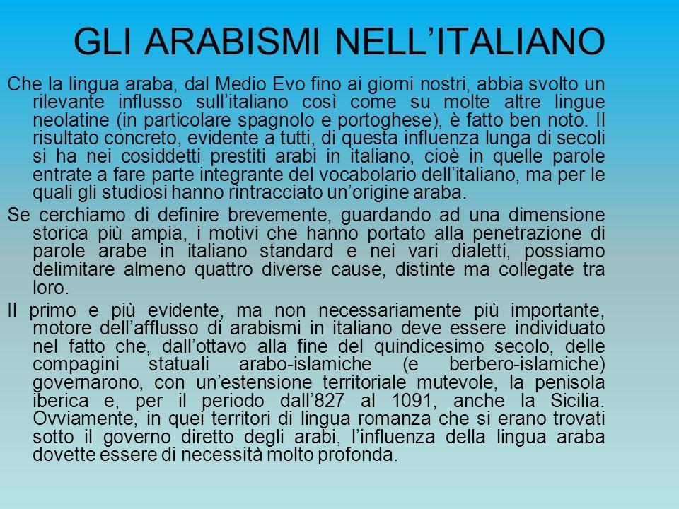 GLI ARABISMI NELLITALIANO Che la lingua araba, dal Medio Evo fino ai giorni nostri, abbia svolto un rilevante influsso sullitaliano così come su molte