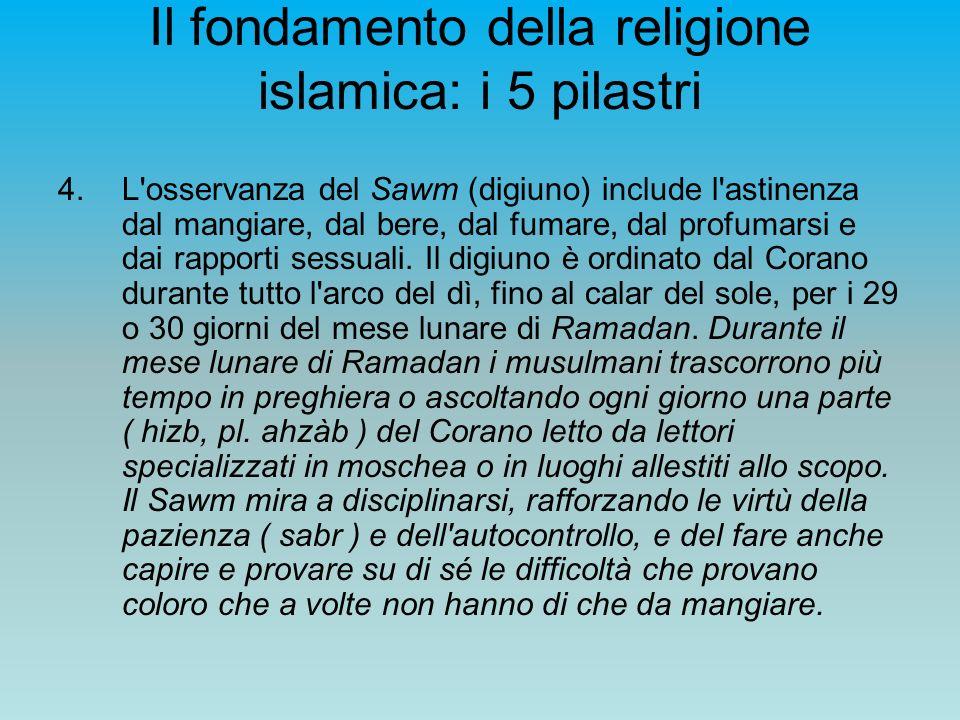 Il fondamento della religione islamica: i 5 pilastri 4.L'osservanza del Sawm (digiuno) include l'astinenza dal mangiare, dal bere, dal fumare, dal pro