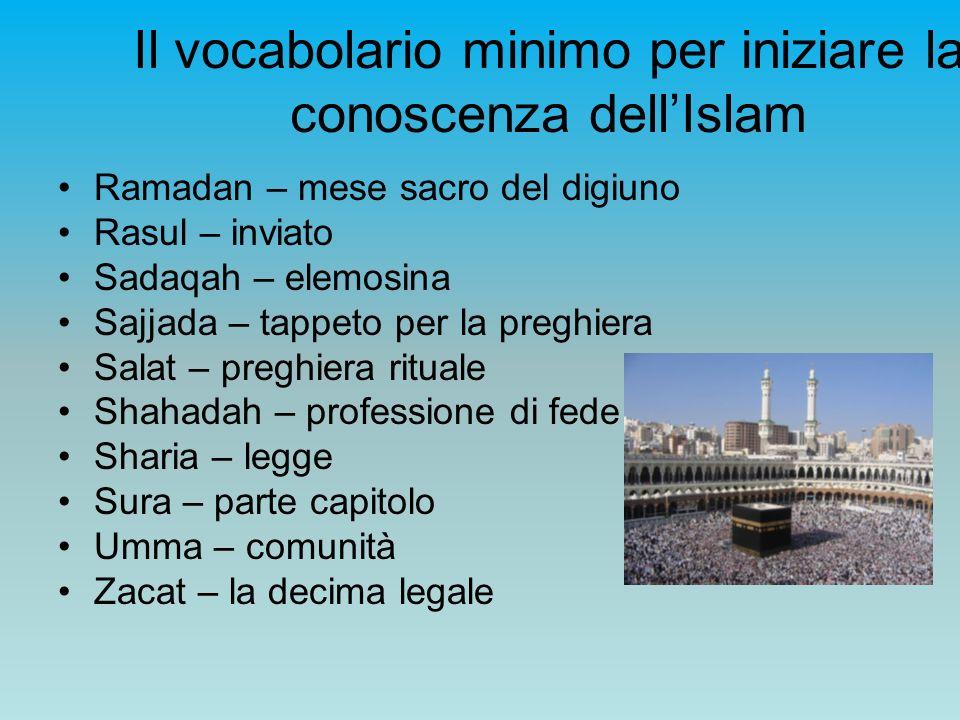 Il vocabolario minimo per iniziare la conoscenza dellIslam Ramadan – mese sacro del digiuno Rasul – inviato Sadaqah – elemosina Sajjada – tappeto per