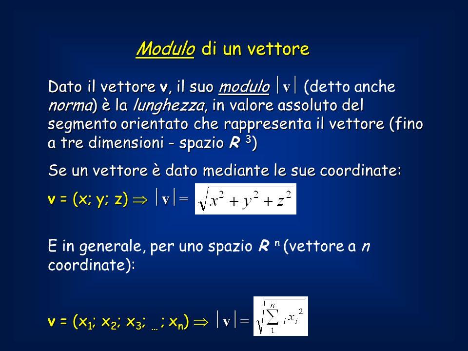 Dato il vettore v, il suo modulo v norma) è la lunghezza, in valore assoluto del segmento orientato che rappresenta il vettore (fino a tre dimensioni - spazio R 3 ) Dato il vettore v, il suo modulo v (detto anche norma) è la lunghezza, in valore assoluto del segmento orientato che rappresenta il vettore (fino a tre dimensioni - spazio R 3 ) Se un vettore è dato mediante le sue coordinate: v = (x; y; z) v = E in generale, per uno spazio R n (vettore a n coordinate): v = (x 1 ; x 2 ; x 3 ; … ; x n ) v = Modulo di un vettore