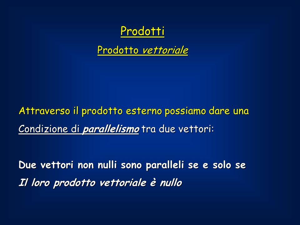 Prodotti Prodotto vettoriale Attraverso il prodotto esterno possiamo dare una Condizione di parallelismo tra due vettori: Due vettori non nulli sono paralleli se e solo se Il loro prodotto vettoriale è nullo