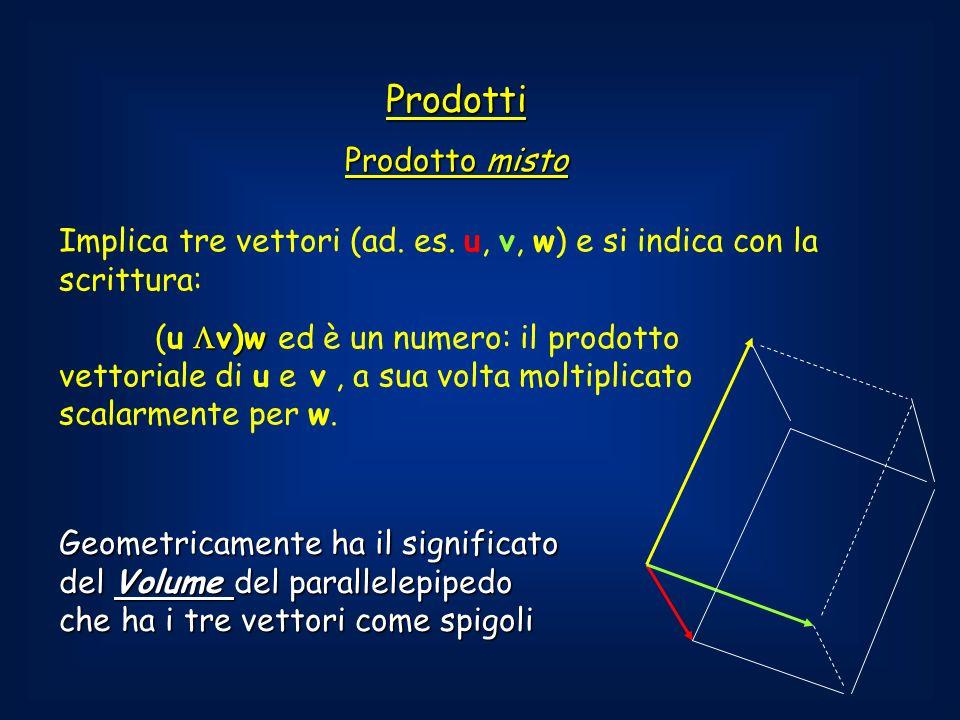 Prodotti Prodotto misto Implica tre vettori (ad.es.