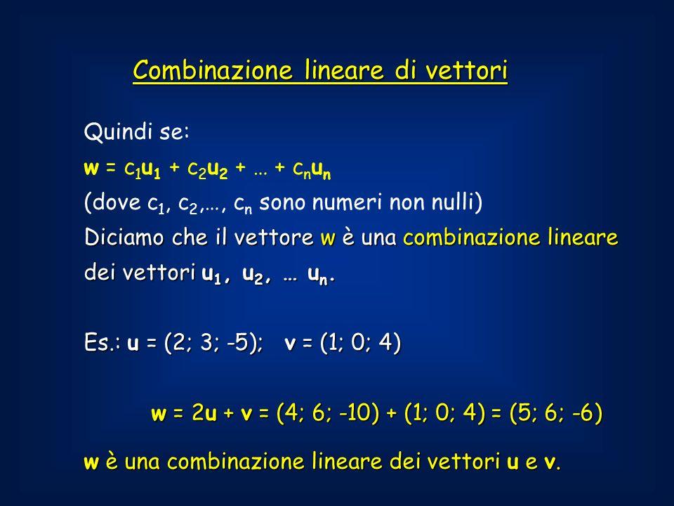 Combinazione lineare di vettori Quindi se: w = c 1 u 1 + c 2 u 2 + … + c n u n (dove c 1, c 2,…, c n sono numeri non nulli) Diciamo che il vettore w è una combinazione lineare dei vettori u 1, u 2, … u n.
