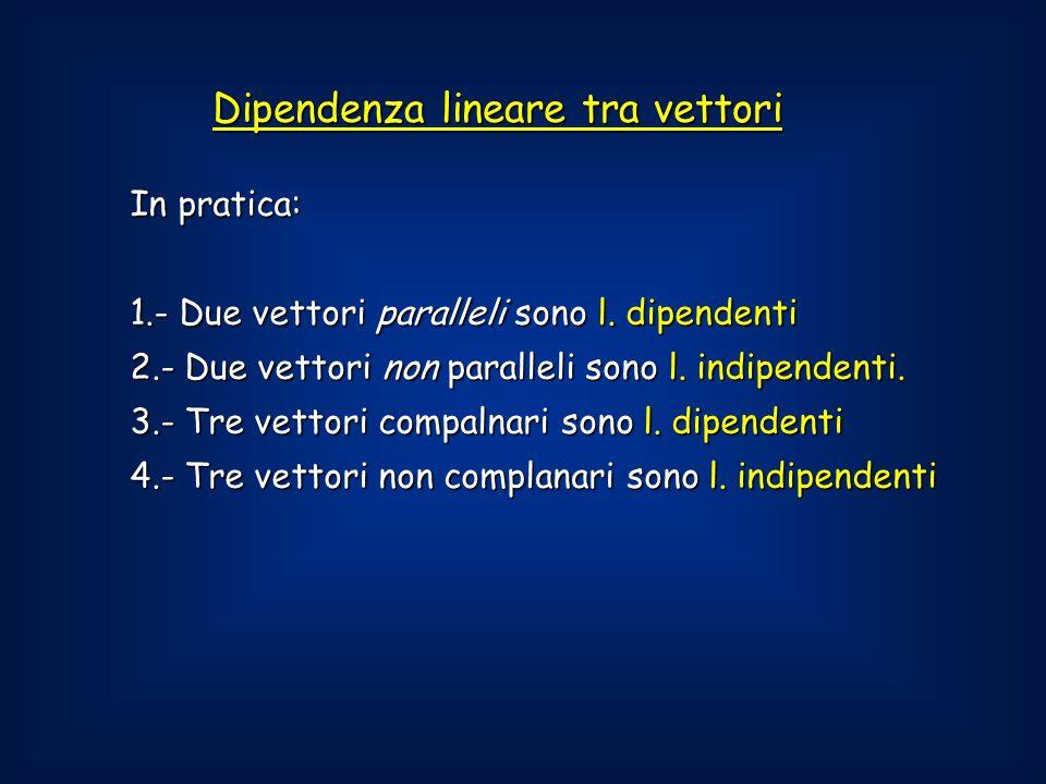 Dipendenza lineare tra vettori In pratica: 1.- Due vettori paralleli sono l.