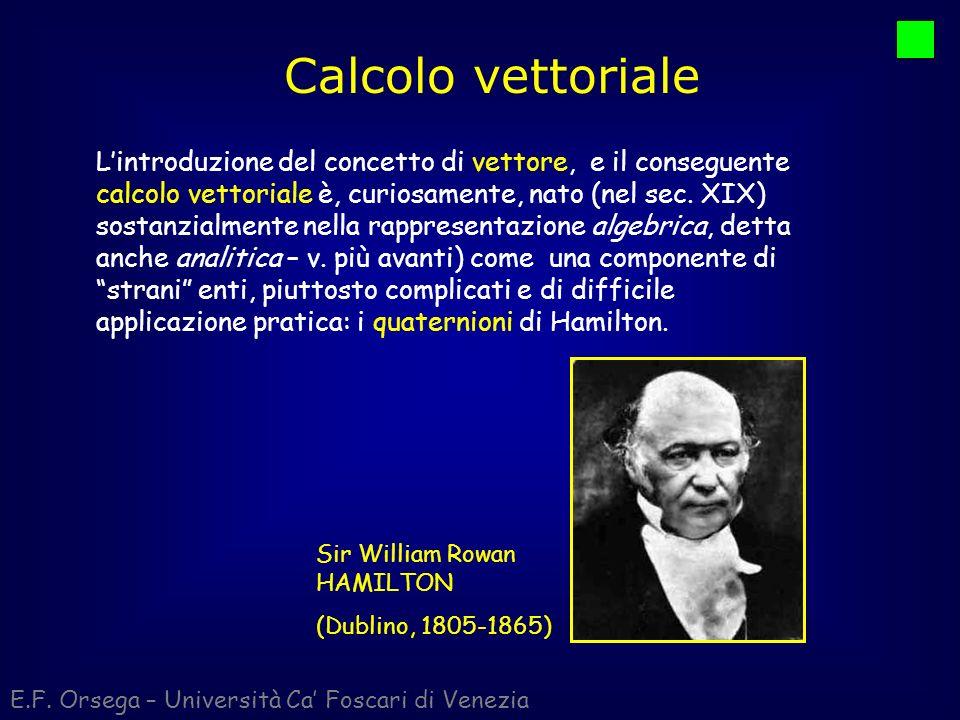 Calcolo vettoriale E.F. Orsega – Università Ca Foscari di Venezia Lintroduzione del concetto di vettore, e il conseguente calcolo vettoriale è, curios