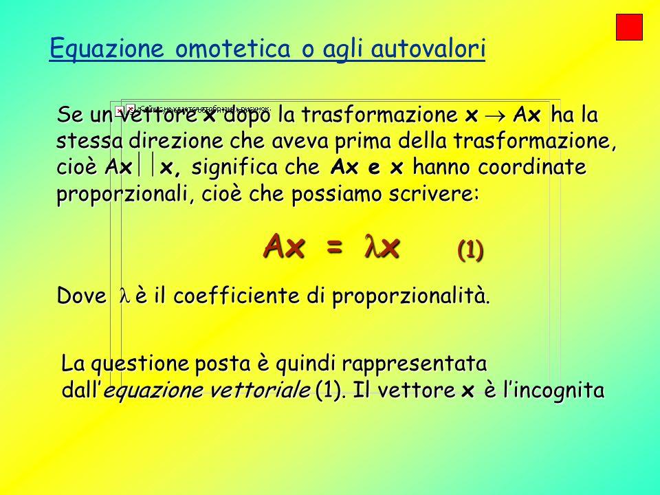 Se un vettore x dopo la trasformazione x Ax ha la stessa direzione che aveva prima della trasformazione, cioè Ax x, significa che Ax e x hanno coordin