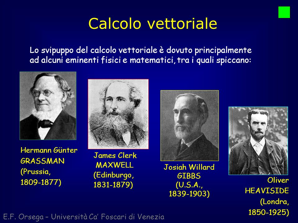 Calcolo vettoriale E.F. Orsega – Università Ca Foscari di Venezia Lo svipuppo del calcolo vettoriale è dovuto principalmente ad alcuni eminenti fisici