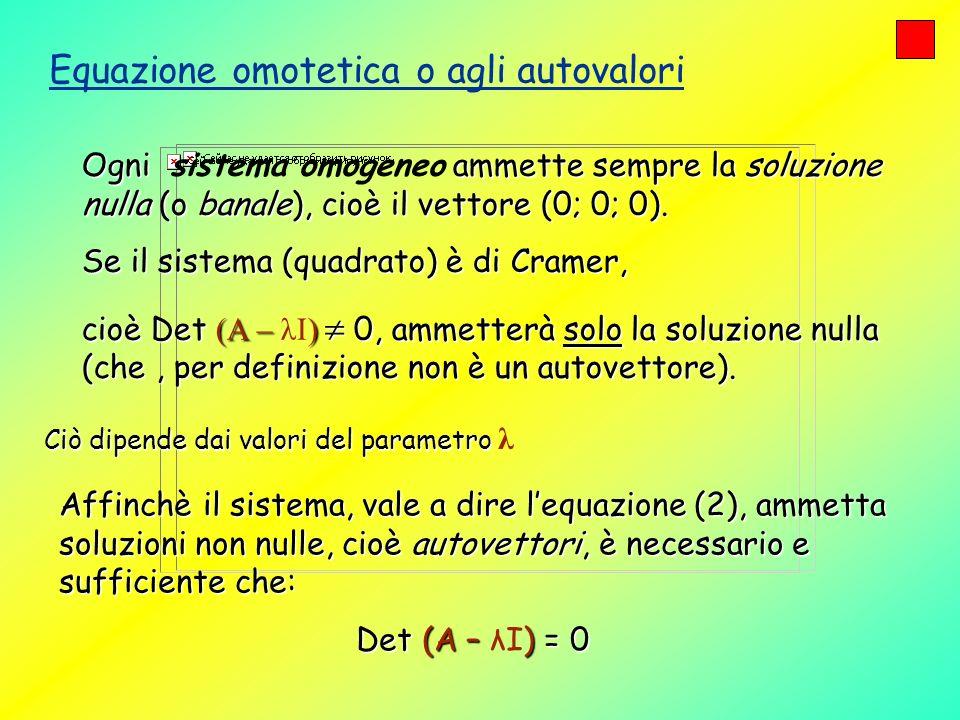 Equazione omotetica o agli autovalori Ogni ammette sempre la soluzione nulla (o banale), cioè il vettore (0; 0; 0). Ogni sistema omogeneo ammette semp
