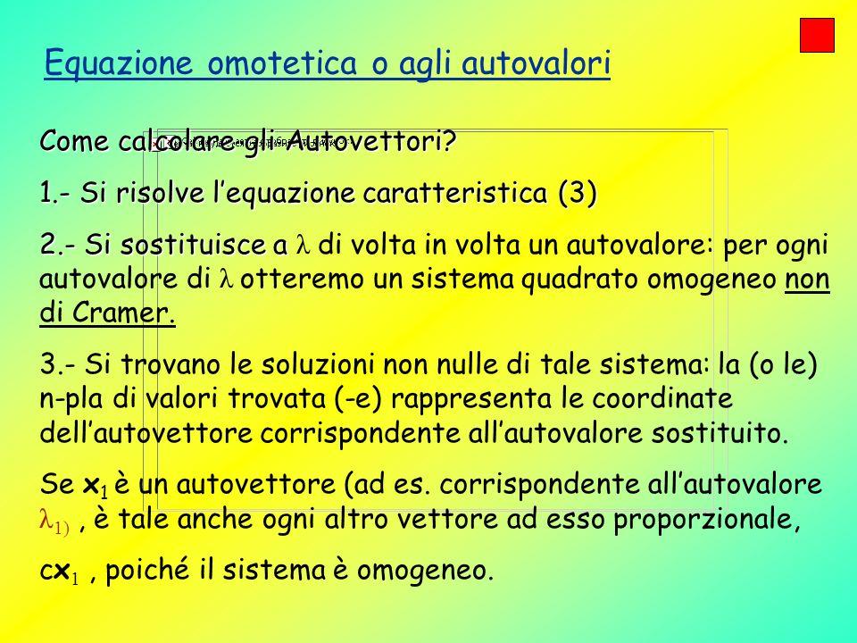 Equazione omotetica o agli autovalori Come calcolare gli Autovettori? 1.- Si risolve lequazione caratteristica (3) 2.- Si sostituisce a 2.- Si sostitu