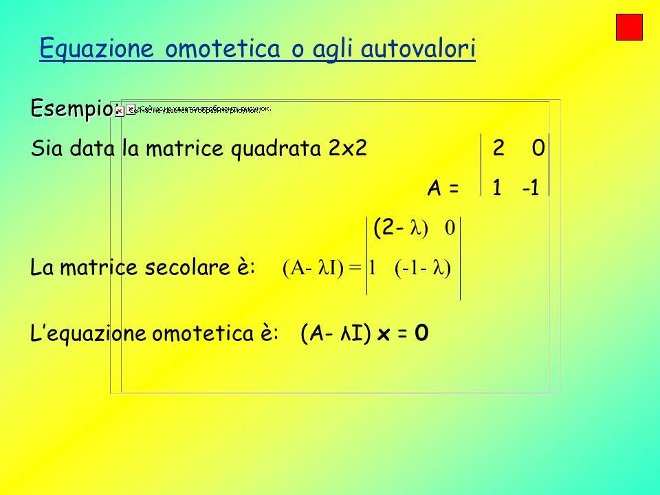 Equazione omotetica o agli autovalori Esempio: Sia data la matrice quadrata 2x2 2 0 A = 1 -1 (2- λ) 0 La matrice secolare è: (A- λI) = 1 (-1- λ) Lequa