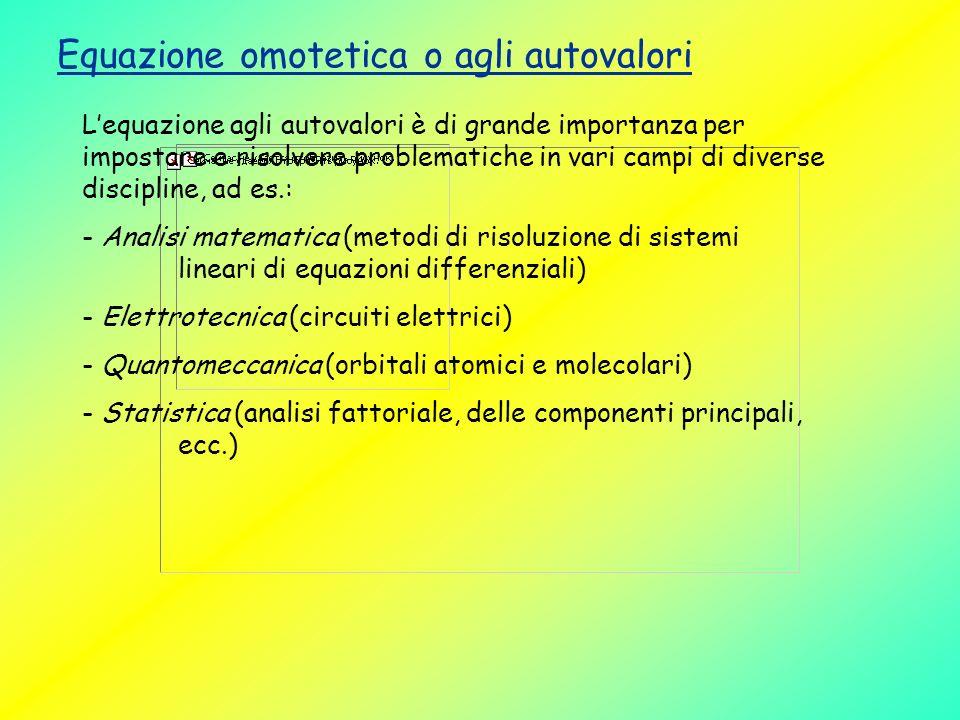 Equazione omotetica o agli autovalori Lequazione agli autovalori è di grande importanza per impostare e risolvere problematiche in vari campi di diver