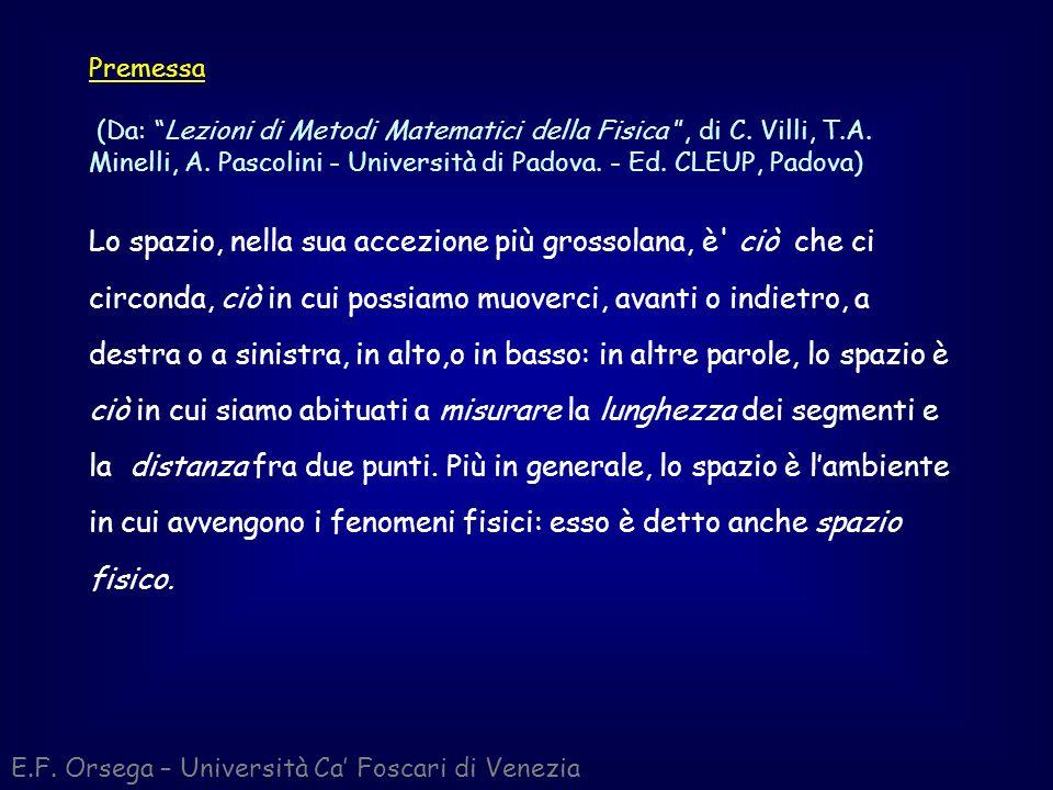 E.F. Orsega – Università Ca Foscari di Venezia Premessa (Da: Lezioni di Metodi Matematici della Fisica, di C. Villi, T.A. Minelli, A. Pascolini - Univ