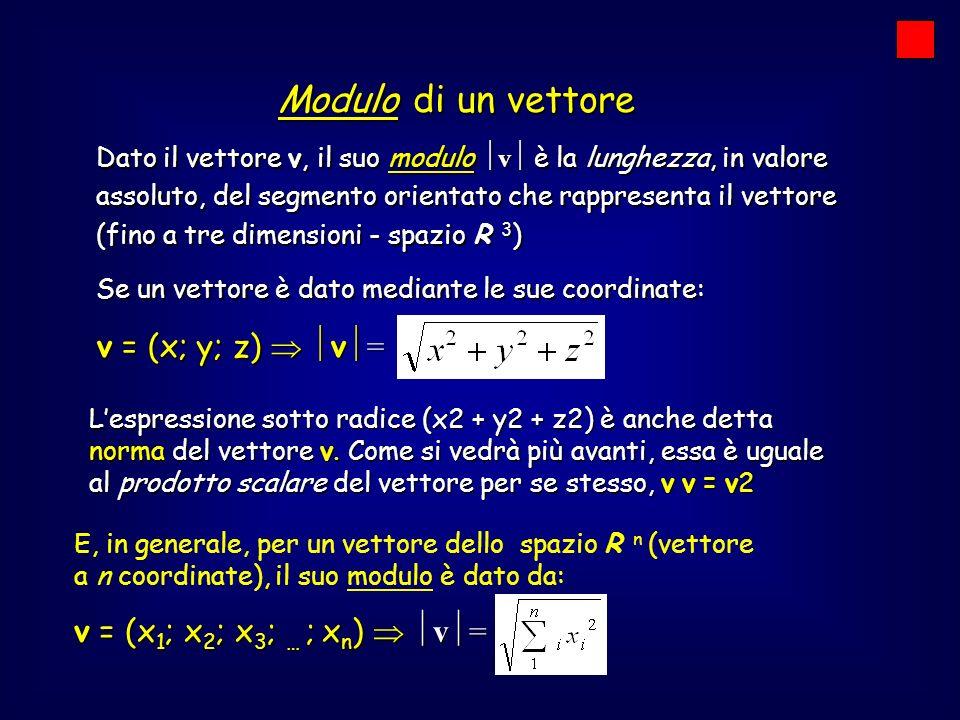 Dato il vettore v, il suo modulo v è la lunghezza, in valore assoluto, del segmento orientato che rappresenta il vettore (fino a tre dimensioni - spaz