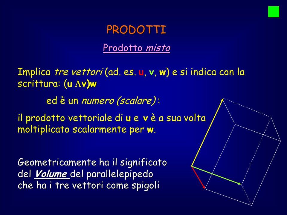 PRODOTTI Prodotto misto v)w Implica tre vettori (ad. es. u, v, w) e si indica con la scrittura: (u v)w ed è un numero (scalare) : il prodotto vettoria