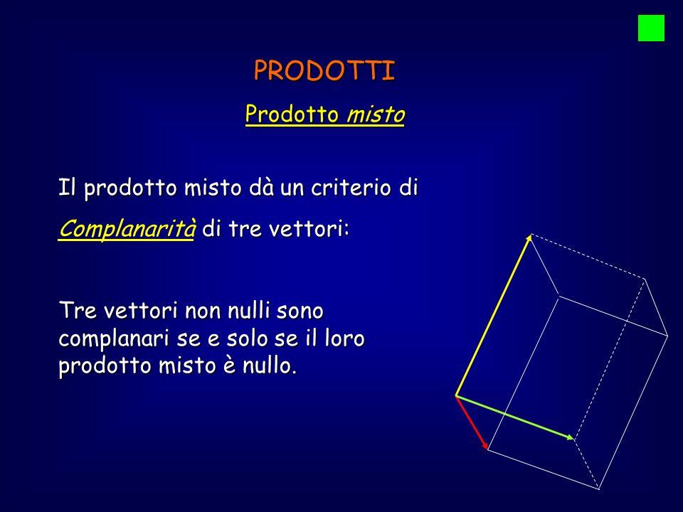 PRODOTTI Prodotto misto Il prodotto misto dà un criterio di di tre vettori: Complanarità di tre vettori: Tre vettori non nulli sono complanari se e so