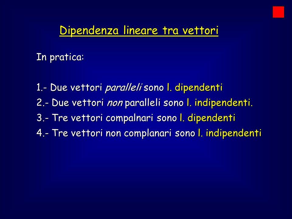 Dipendenza lineare tra vettori In pratica: 1.- Due vettori paralleli sono l. dipendenti 2.- Due vettori non paralleli sono l. indipendenti. 3.- Tre ve