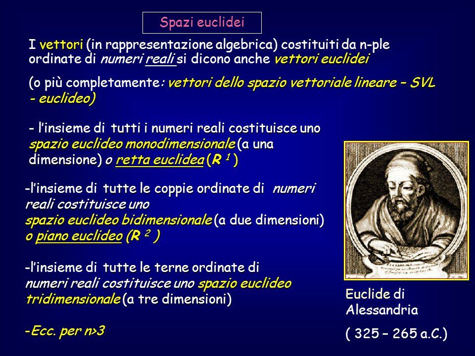 vettori vettori euclidei I vettori (in rappresentazione algebrica) costituiti da n-ple ordinate di numeri reali si dicono anche vettori euclidei (: ve