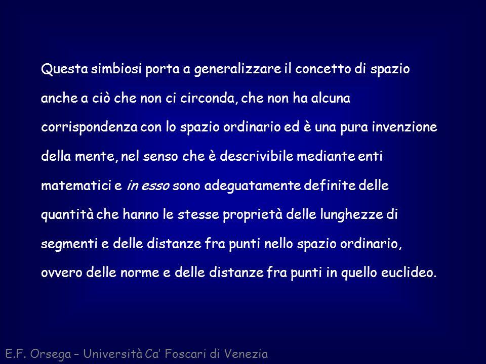 E.F. Orsega – Università Ca Foscari di Venezia Questa simbiosi porta a generalizzare il concetto di spazio anche a ciò che non ci circonda, che non ha