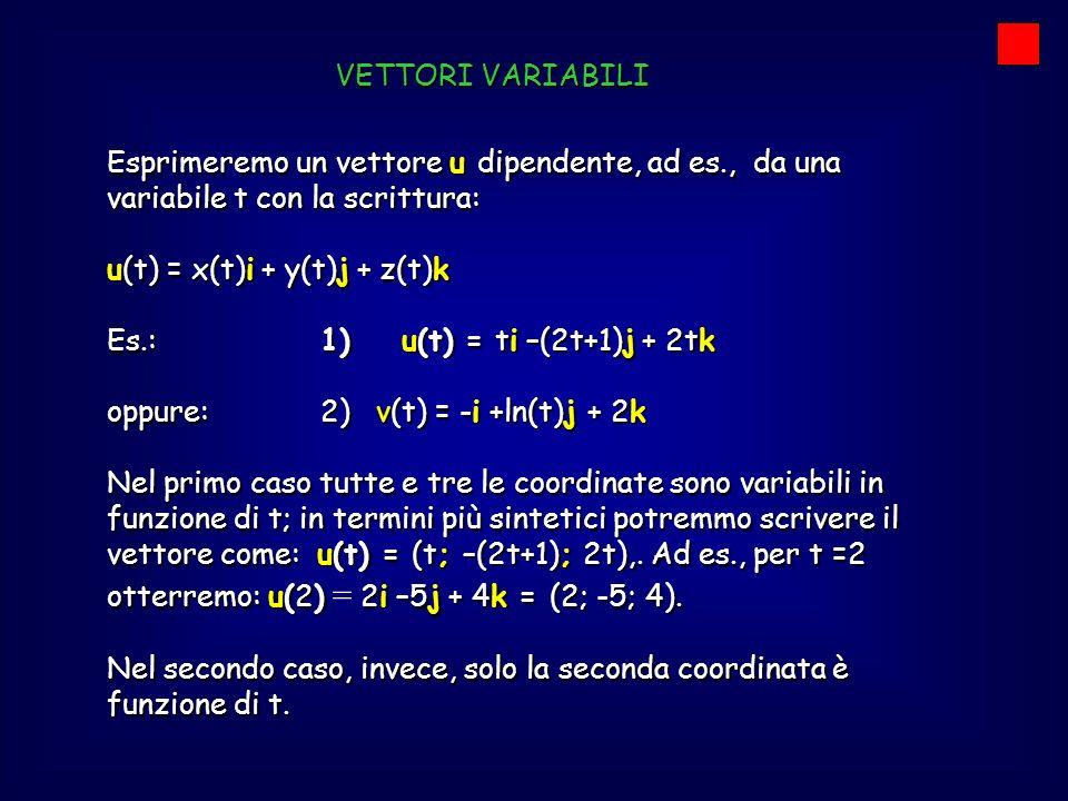VETTORI VARIABILI Esprimeremo un vettore u dipendente, ad es., da una variabile t con la scrittura: u(t) = x(t)i + y(t)j + z(t)k Es.: 1) u(t) = ti –(2