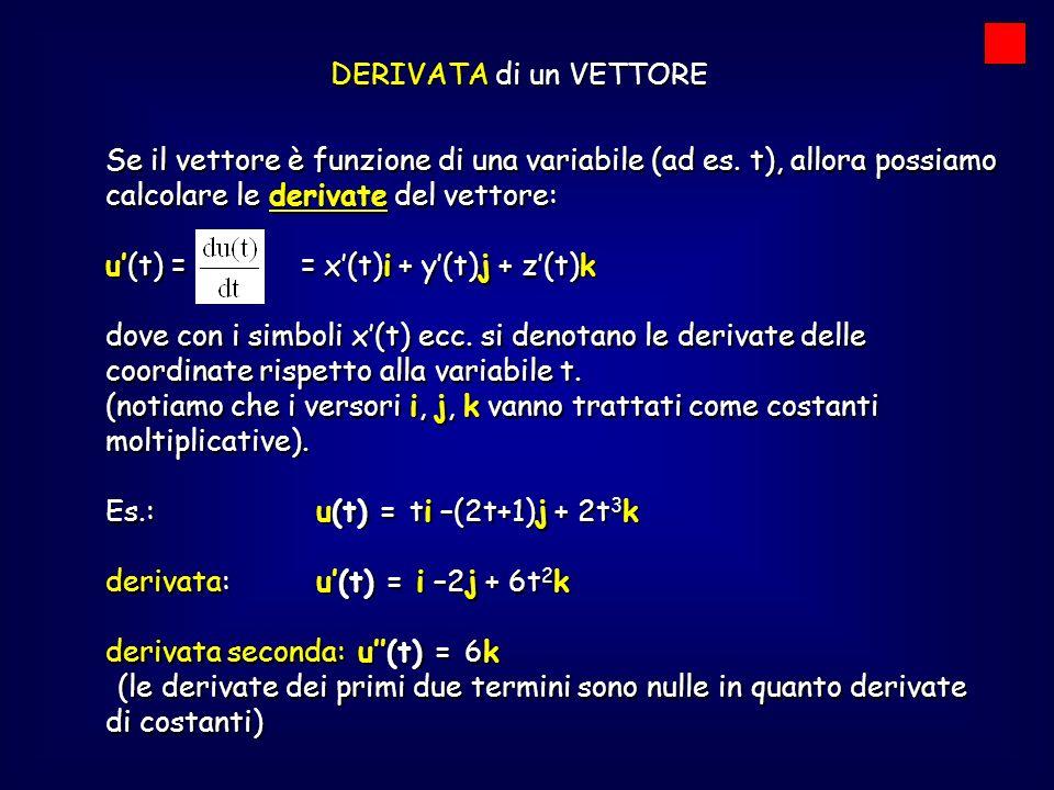 DERIVATA di un VETTORE Se il vettore è funzione di una variabile (ad es. t), allora possiamo calcolare le derivate del vettore: u(t) = = x(t)i + y(t)j