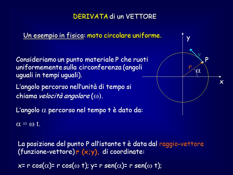 DERIVATA di un VETTORE Un esempio in fisica: moto circolare uniforme. y x r v P Consideriamo un punto materiale P che ruoti uniformemente sulla circon
