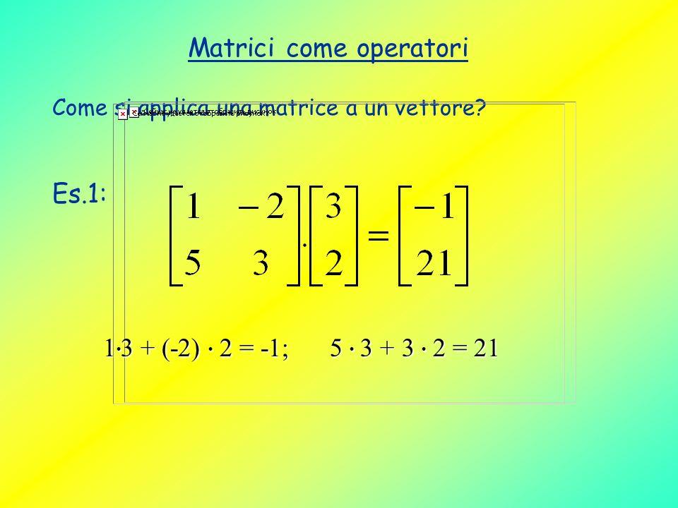 Matrici come operatori Come si applica una matrice a un vettore? Es.1: 1 3 + (-2) 2 = -1; 5 3 + 3 2 = 21