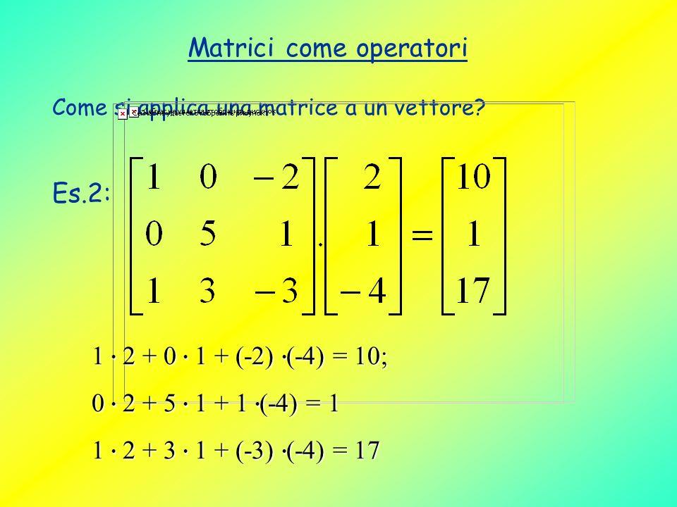 Matrici come operatori Come si applica una matrice a un vettore? Es.2: 1 2 + 0 1 + (-2) (-4) = 10; 0 2 + 5 1 + 1 (-4) = 1 1 2 + 3 1 + (-3) (-4) = 17