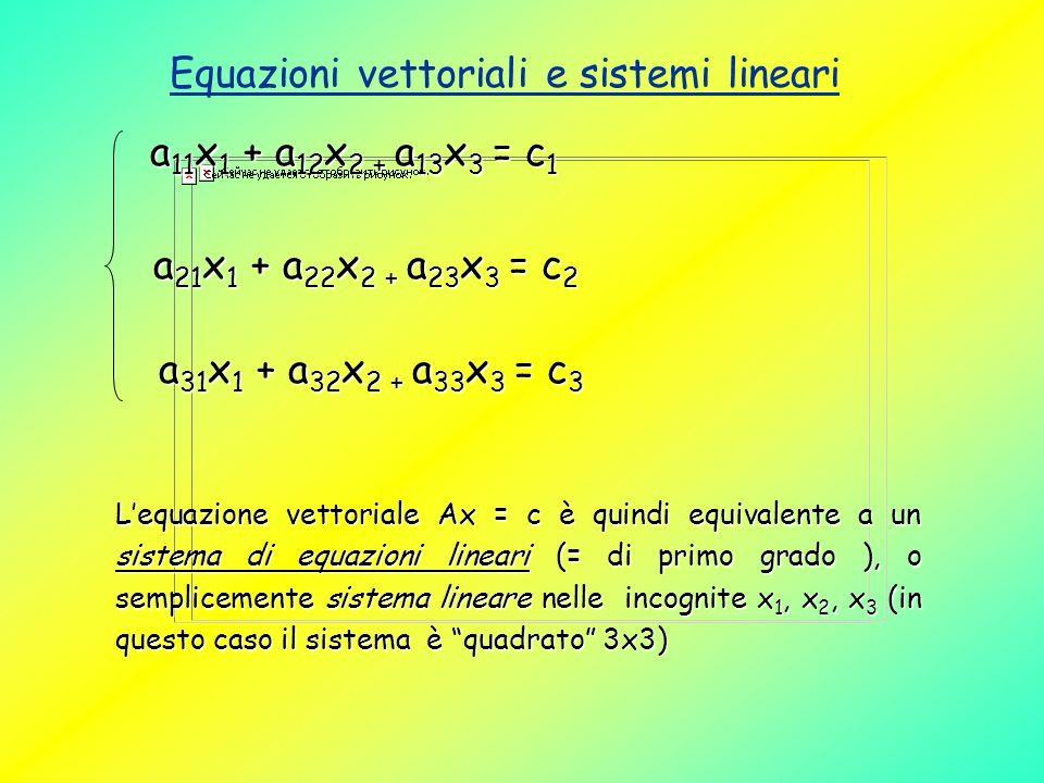 Equazioni vettoriali e sistemi lineari a 11 x 1 + a 12 x 2 + a 13 x 3 = c 1 a 21 x 1 + a 22 x 2 + a 23 x 3 = c 2 a 21 x 1 + a 22 x 2 + a 23 x 3 = c 2